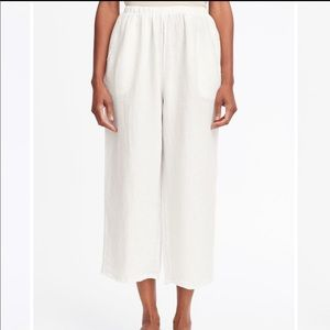 Flax White Linen Flood Pull On Pants